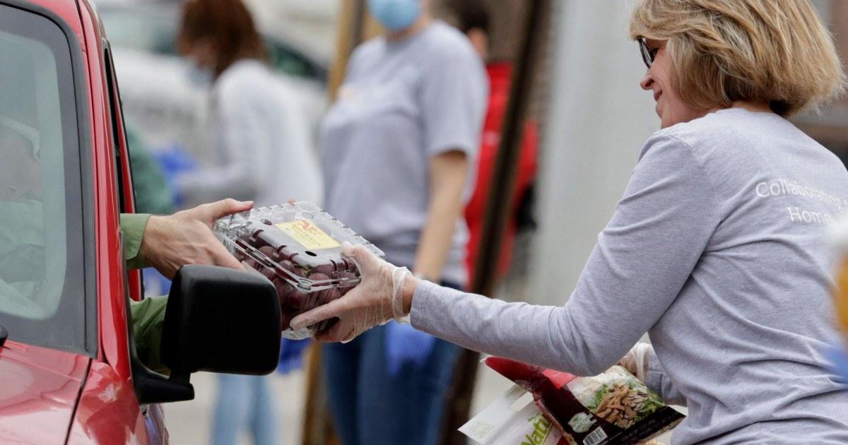 Food-bank-Leitungen surge across America mit der Arbeitslosigkeit
