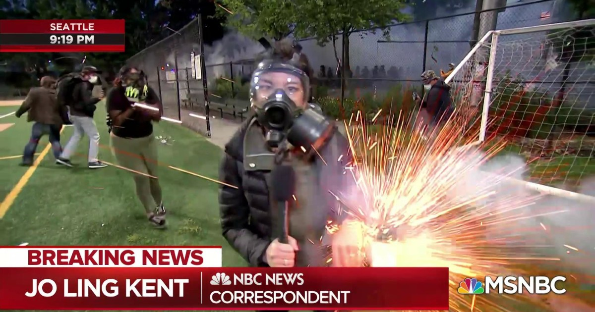 NBC News' Jo Ling Kent hit by flashbang grenade as Seattle protest gets chaotic