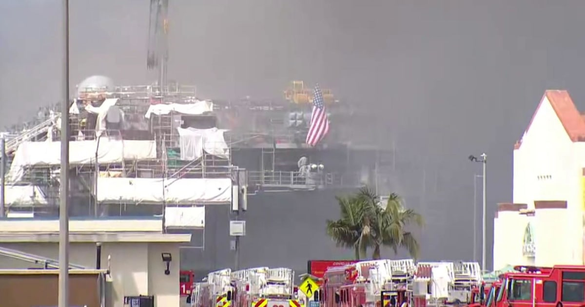 U.S. Navy confirms ship on fire at San Diego base