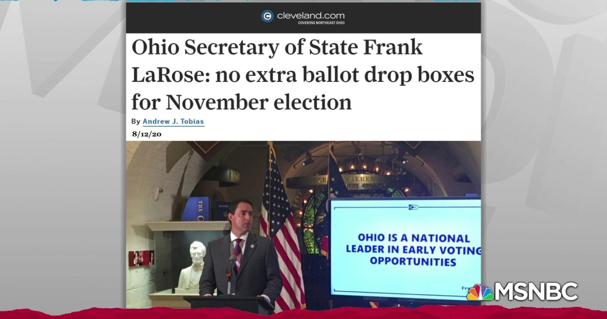 Extra ballot drop boxes rejected by Republican Ohio sec. of state