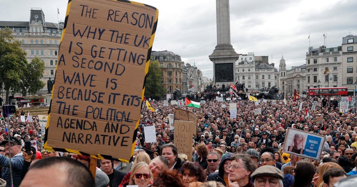 Massive anti-lockdown protest fills up Trafalgar Square in London amid coronavirus pandemic