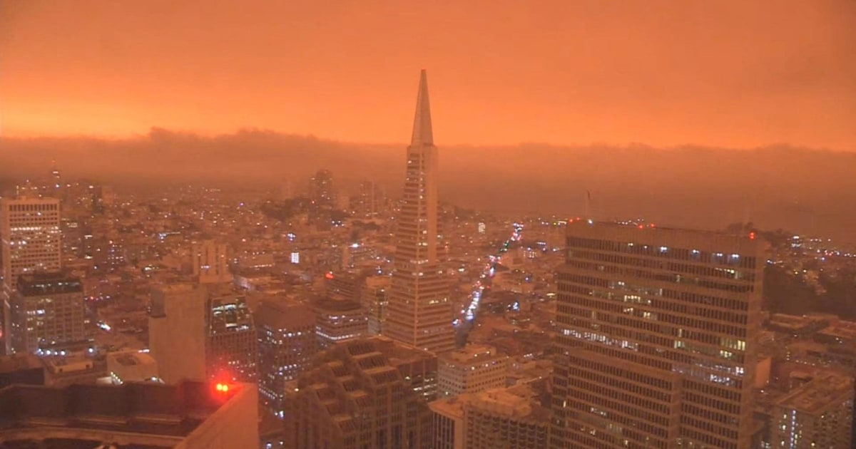 Videos show San Francisco skies turn orange as wildfires rage