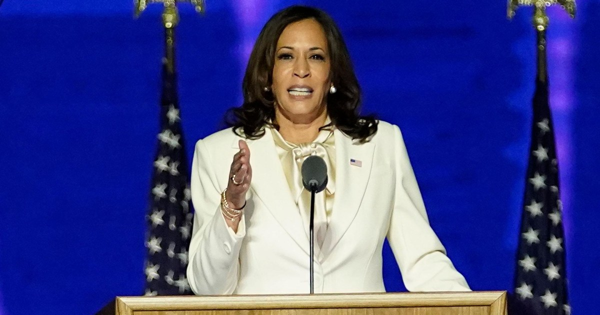 Harris says in victory speech 'I may be the first woman in this office, I will not be the last'