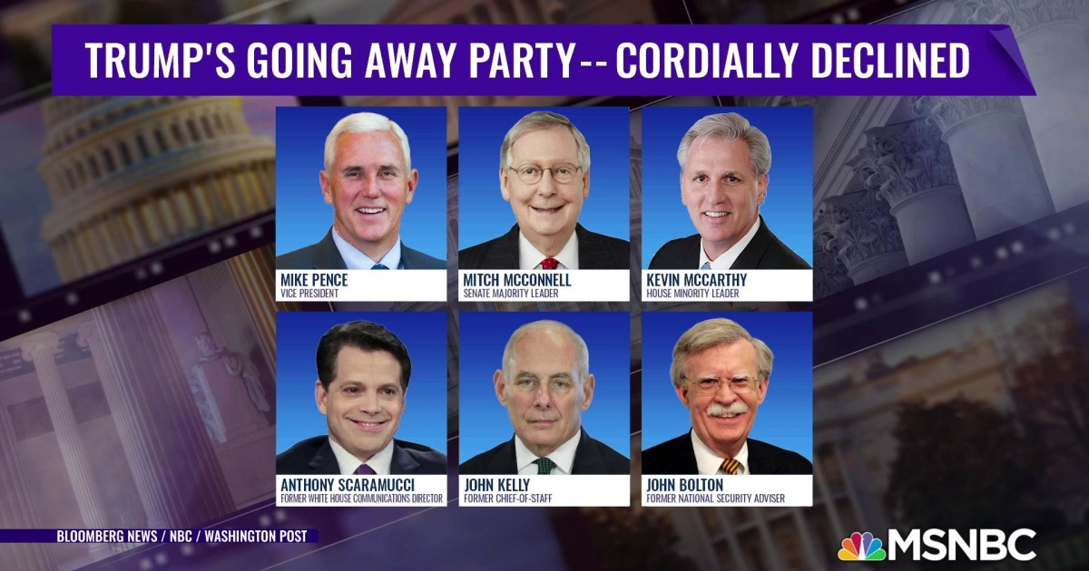 GOP leaders cordially decline Trump's going away party