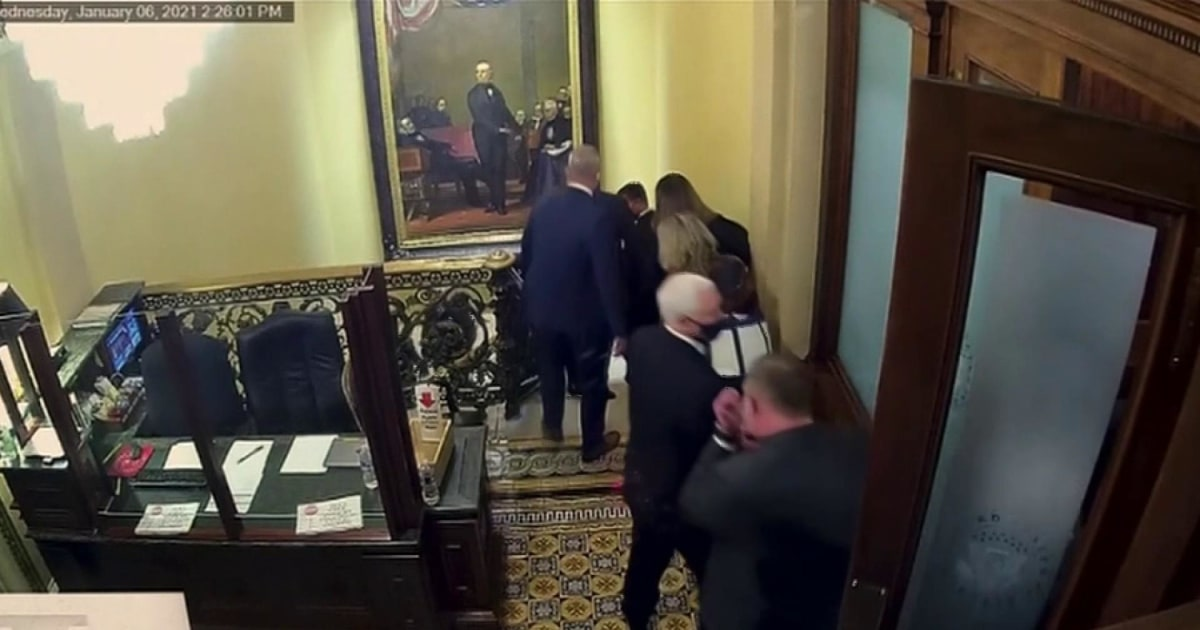 Impeachment managers show video of Pence being rushed away from Capitol rioters