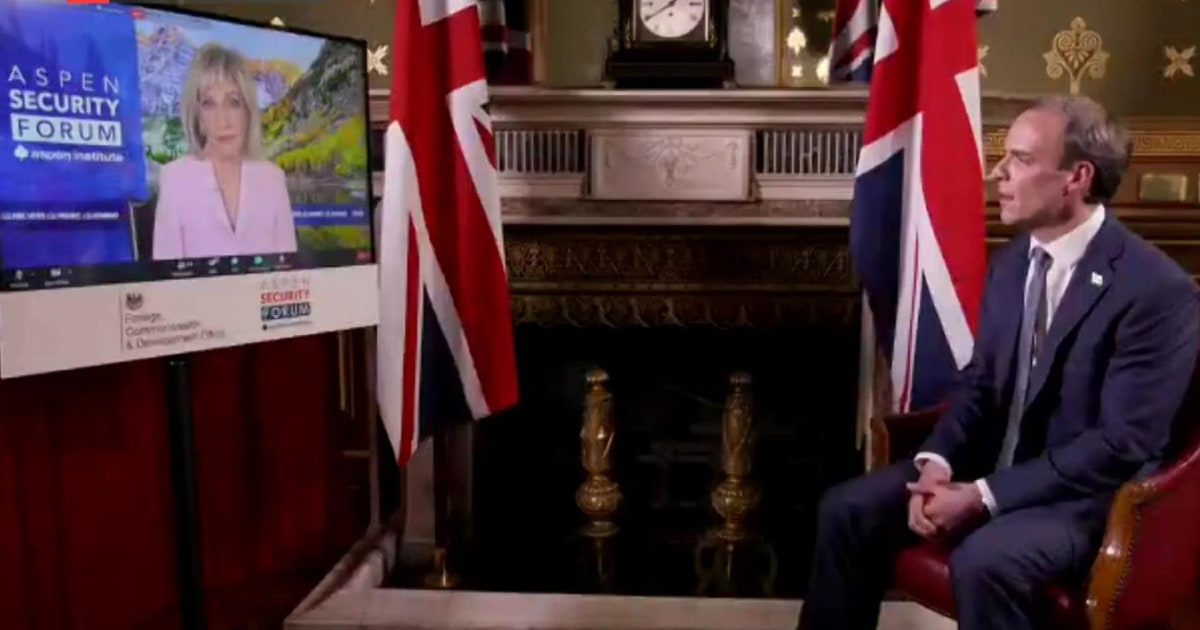 <p>Total interview: Andrea Mitchell Talks with U.K. Foreign Secretary Dominic Raab for virtual Aspen Security Forum thumbnail