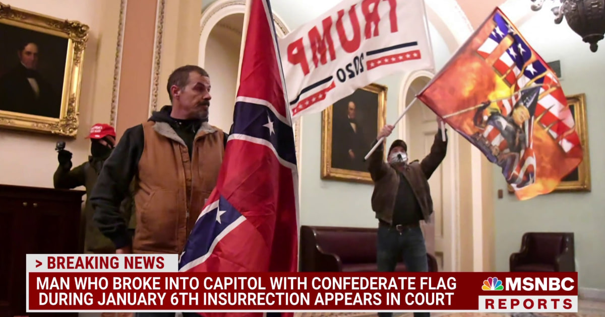 Man who broke into Capitol with Confederate flag appears in court