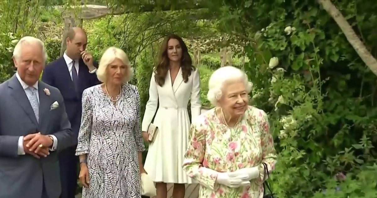Queen Elizabeth II and the royal family arrive at G-7 event