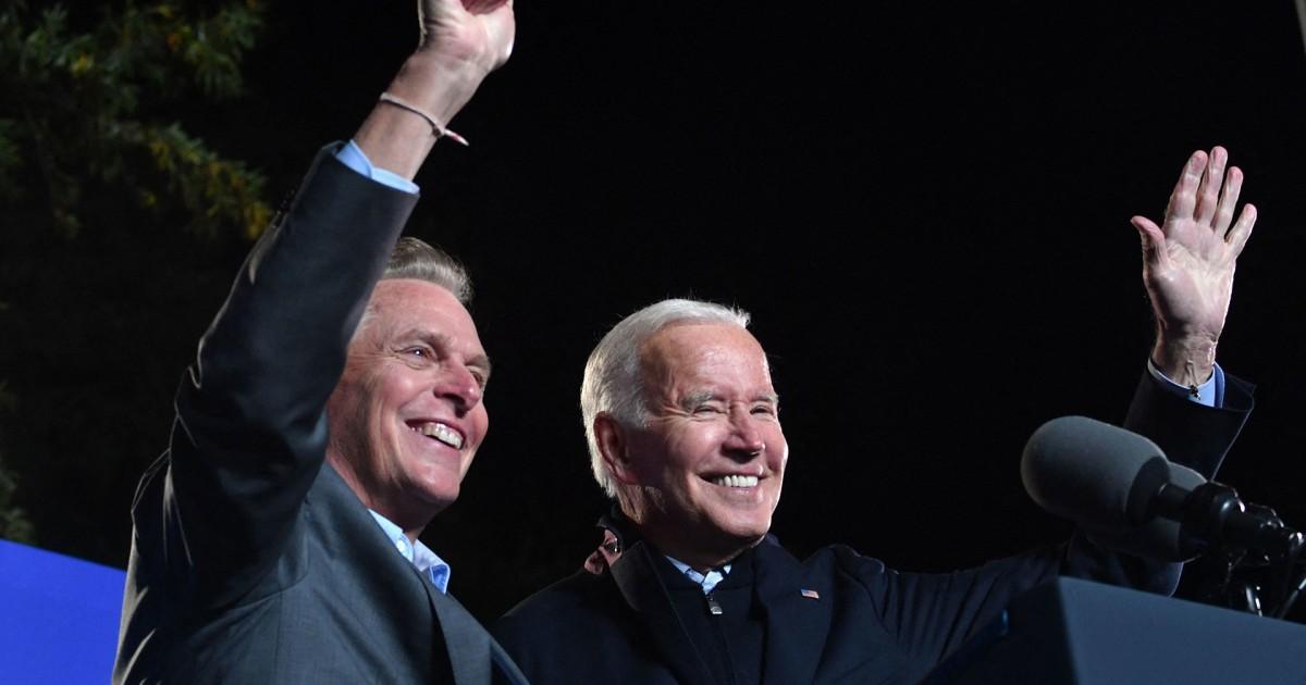 Biden slams McAuliffe opponent Youngkin for downplaying Trump ties