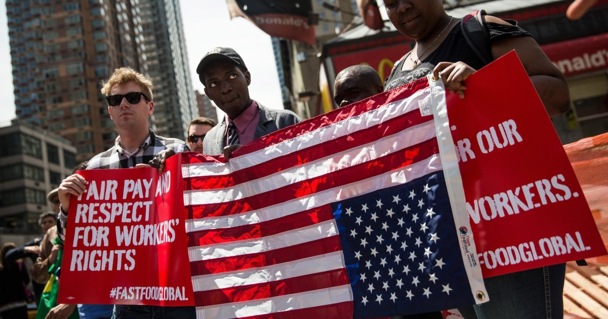 the demand of fast food workers for increase wage in the united states Fast food workers and  small groups of fast-food workers went into the street to demand a $15 wage  city and town in the united states.