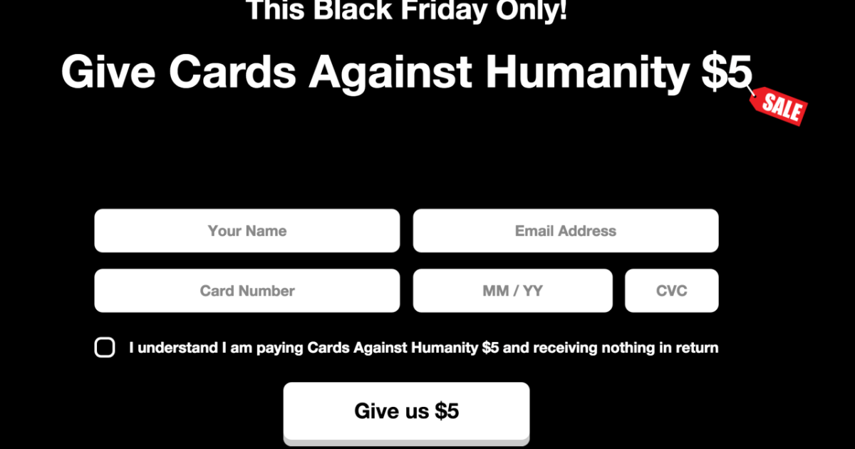 Cards Against Humanity Makes $71,000 by Selling Absolutely Nothing