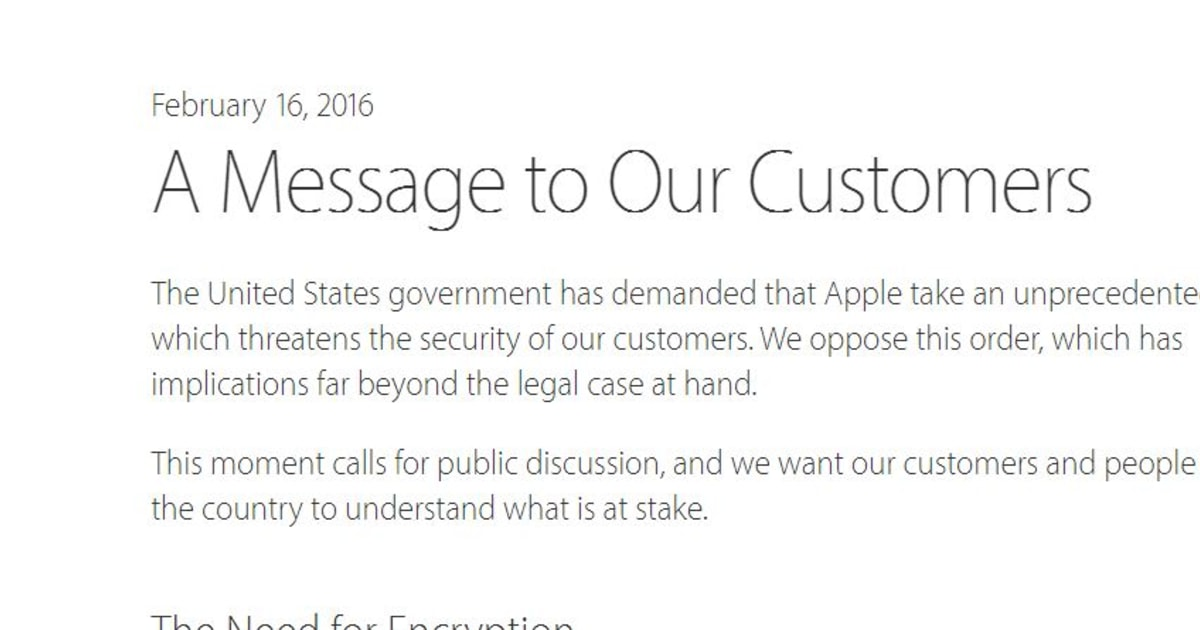 Legislative Action Alert From Mac >> Full Text Of Apple Ceo Tim Cook S Open Letter On Fbi Court Ruling