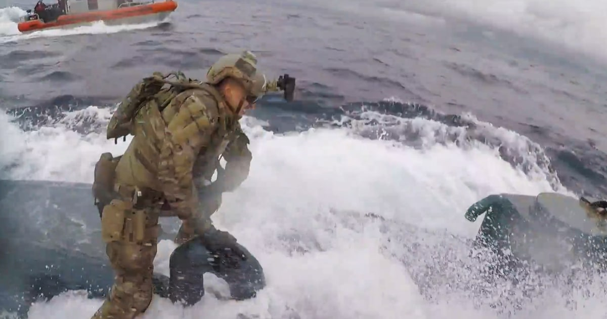 Dramatic video shows Coast Guard leaping onto submarine carrying 17,000 pounds of cocaine thumbnail