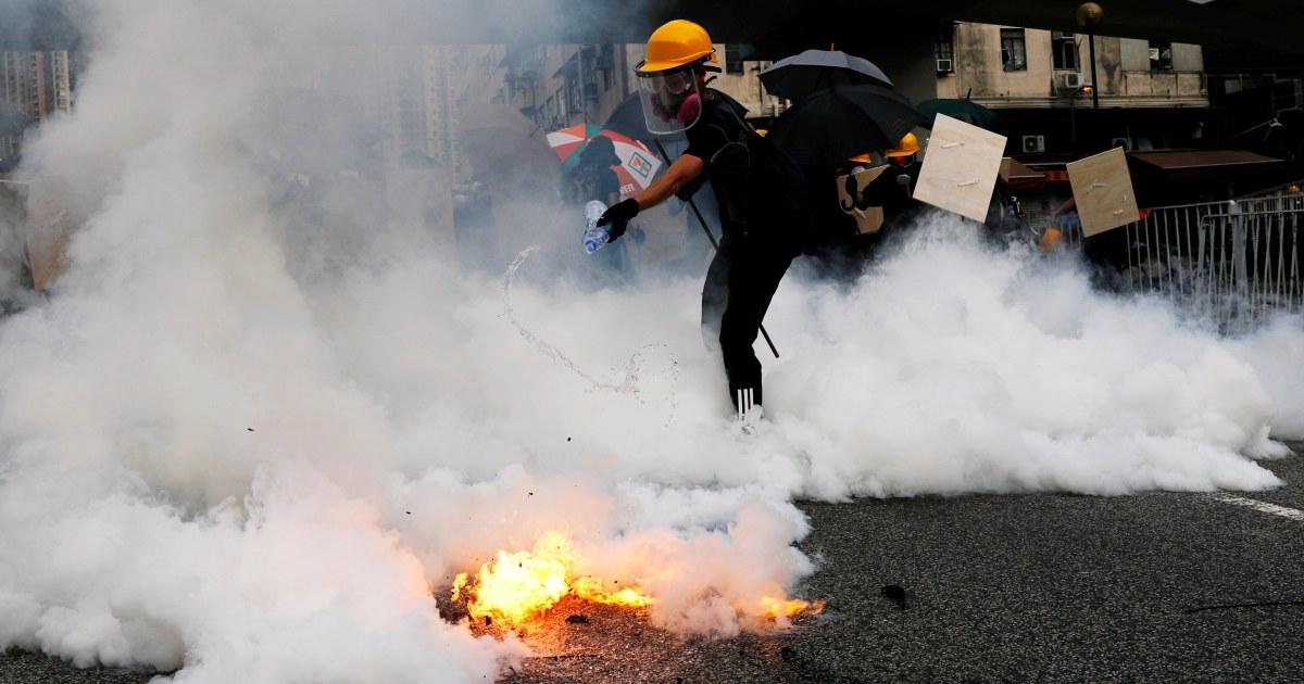 Hong Kong police fire tear gas after demonstrators defy