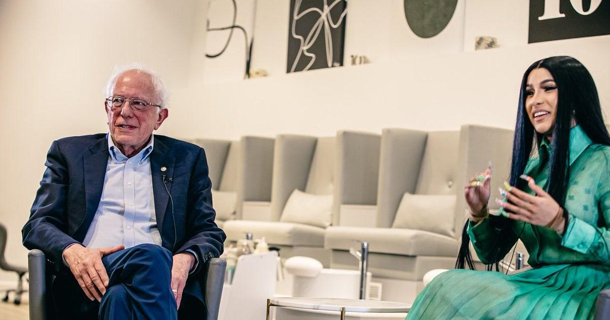 Cardi B grills Bernie Sanders on jobs and wages at a nail salon