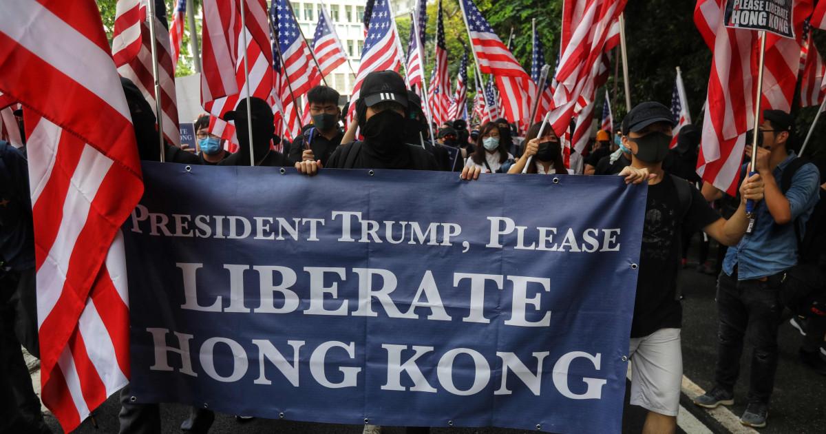 Hong Kong Demonstranten singen die US-Hymne in Berufung zu Übertrumpfen, zu 'befreien' Ihre Stadt