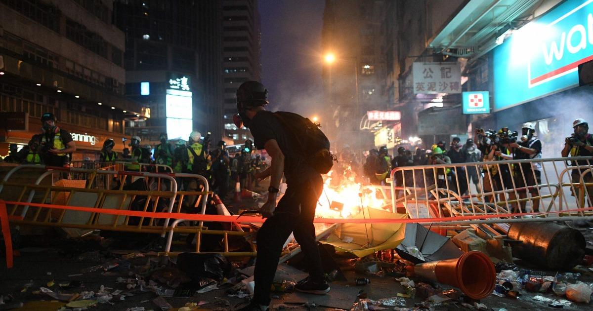 Mehr Gewalt Griffen Hong Kong vor China National Day
