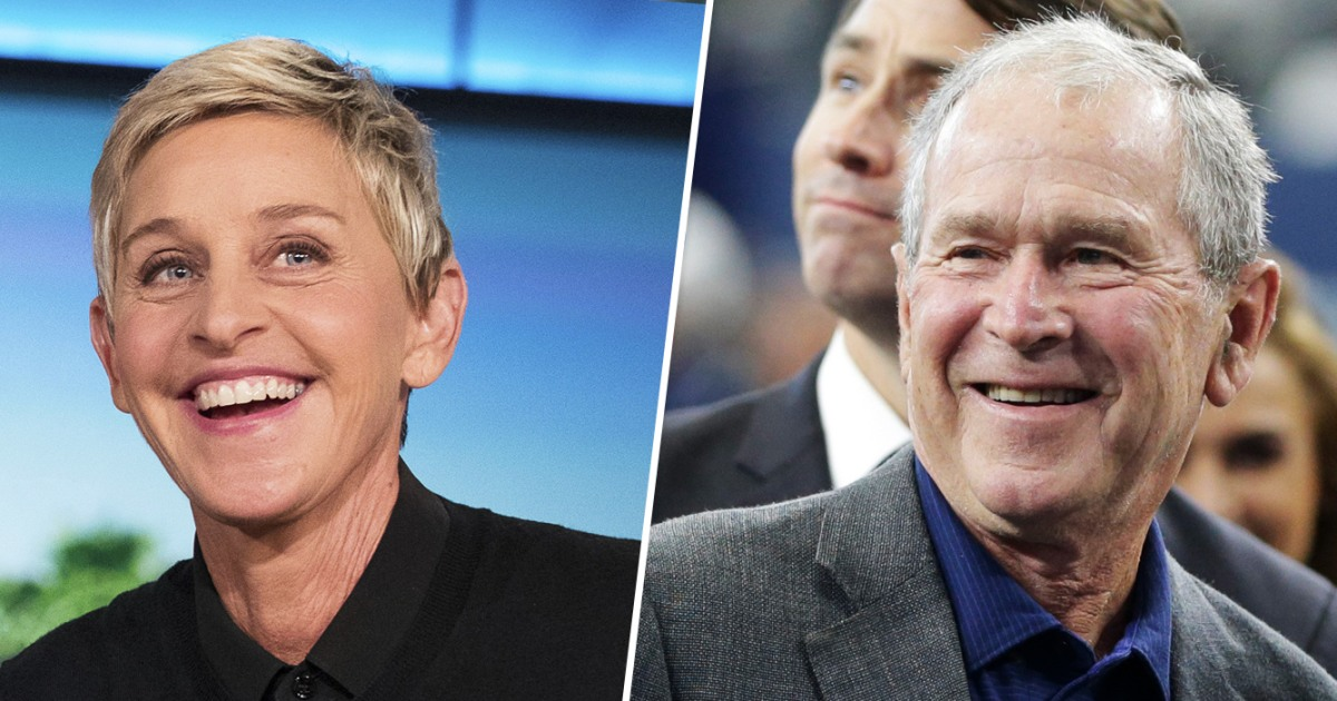 Ellen DeGeneres verteidigt sitzt neben George W. Bush bei NFL-Spiel