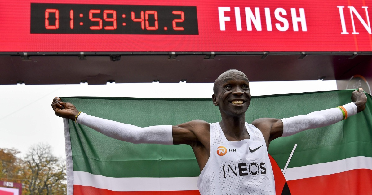 Kenya's Kipchoge becomes first person to run a marathon in under two hours