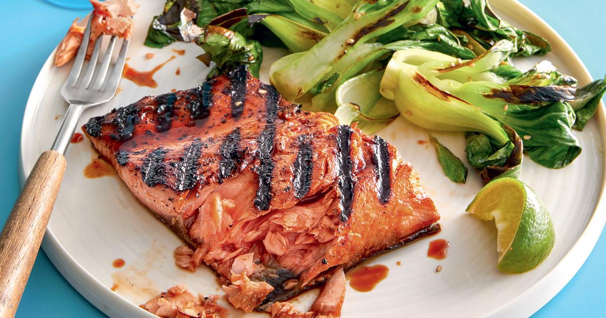 Was Kochen in dieser Woche: Soja-Honig gegrillter Lachs mit umami gebratenem Gemüse