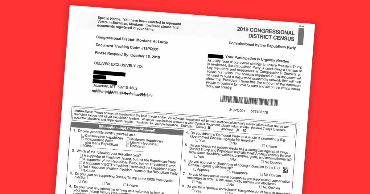 Kelompok hak-hak sipil slam RNC untuk 'penipuan' sensus mailer untuk Montana warga