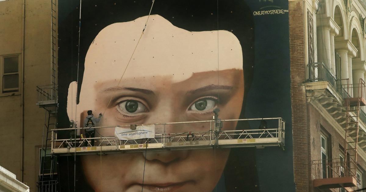 壁画の活動家であるグレタ-Thunbergうにサンフランシスコ