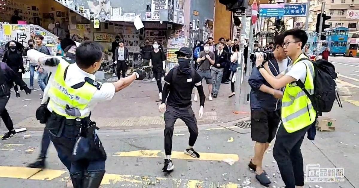 Hong Kong Polizei Schießen, kritisch Wunde Demonstrant