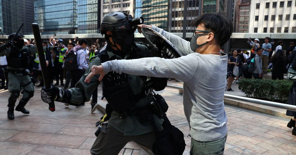 China sagt US wieder aus als Hongkong-die Gewalt eskaliert