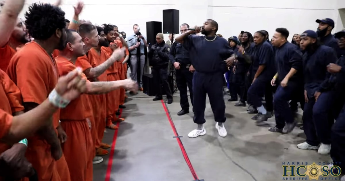 Kanye West gives emotional performance of 'Jesus is King' for inmates at a Houston jail - NBC News