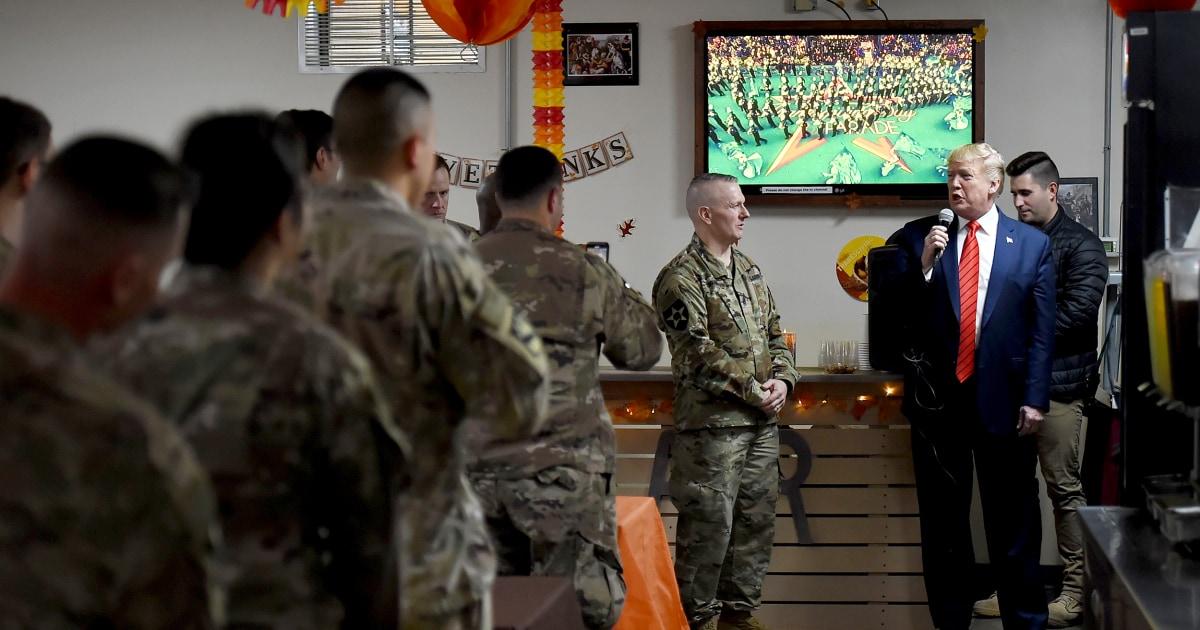 Trump macht überraschung Thanksgiving-Besuch der Truppen in Afghanistan