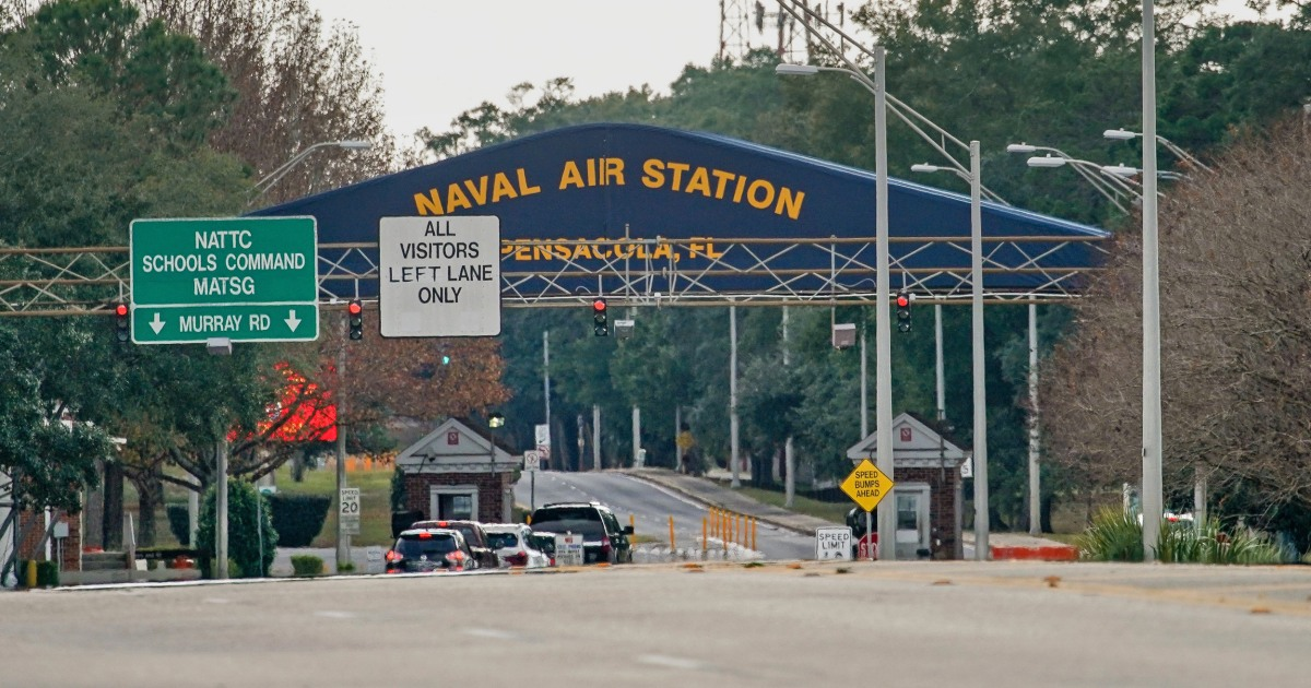Pensacola naval base shooting that left 3 dead presumed to be terrorism, FBI says - NBC News image