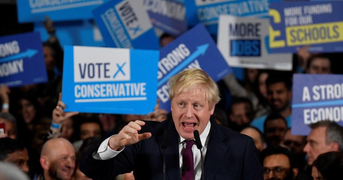 Borisジョンソンセットを獲得する過半数が英国に選出口より投票が