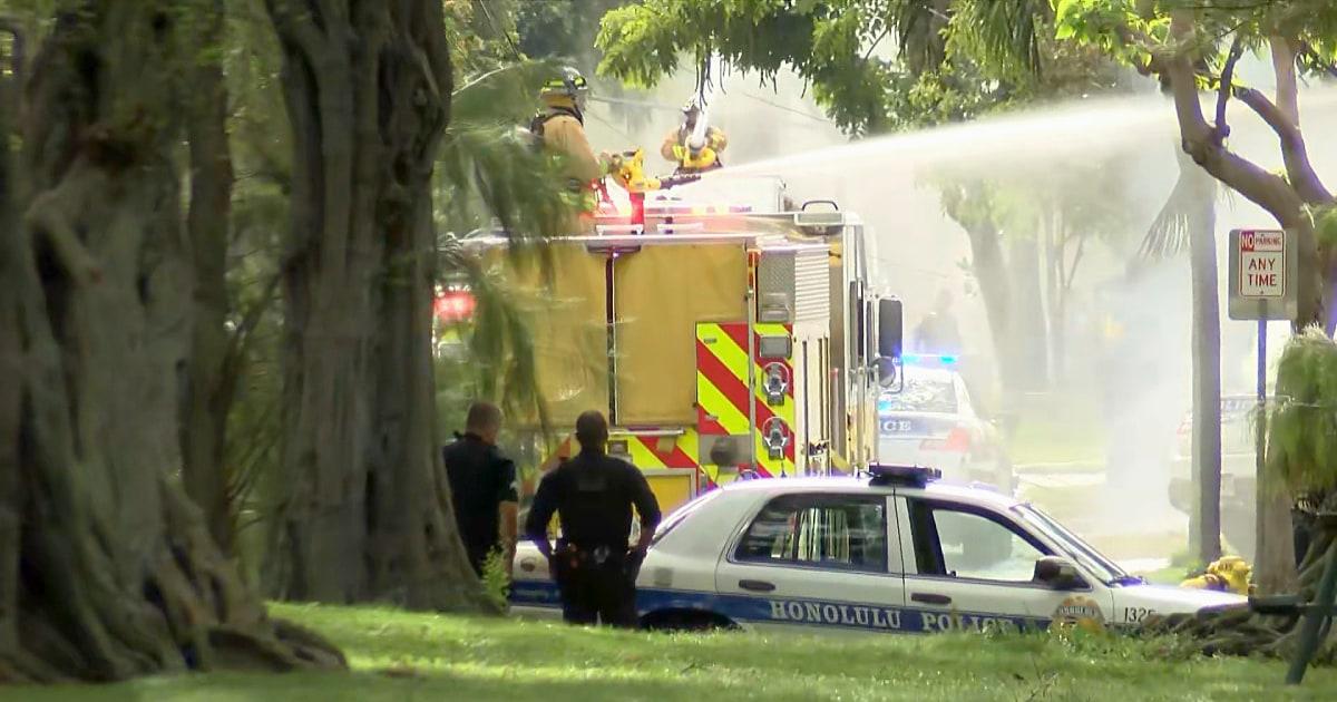 Zwei Polizei Offiziere getötet in Hawaii, die Heimat in Flammen in Schießerei