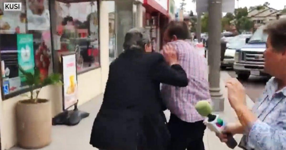 Shop-Besitzer gefangen auf video Angriff auf Reporter mit Akku aufgeladen