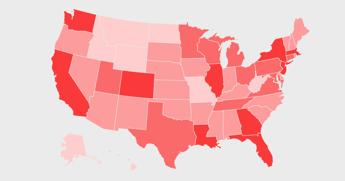 Coronavirus in the U.S.: Map of how many cases have been confirmed across the country