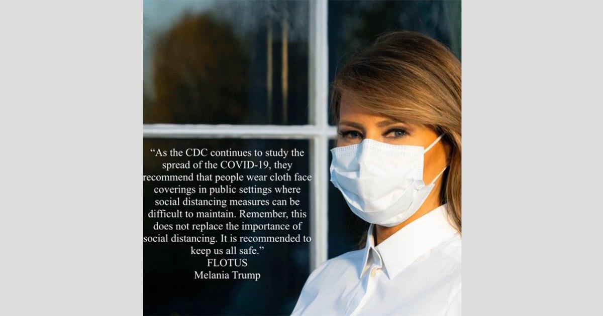 Melania Ατού σπορ μάσκα σε ανακοίνωση δημόσιων υπηρεσιών