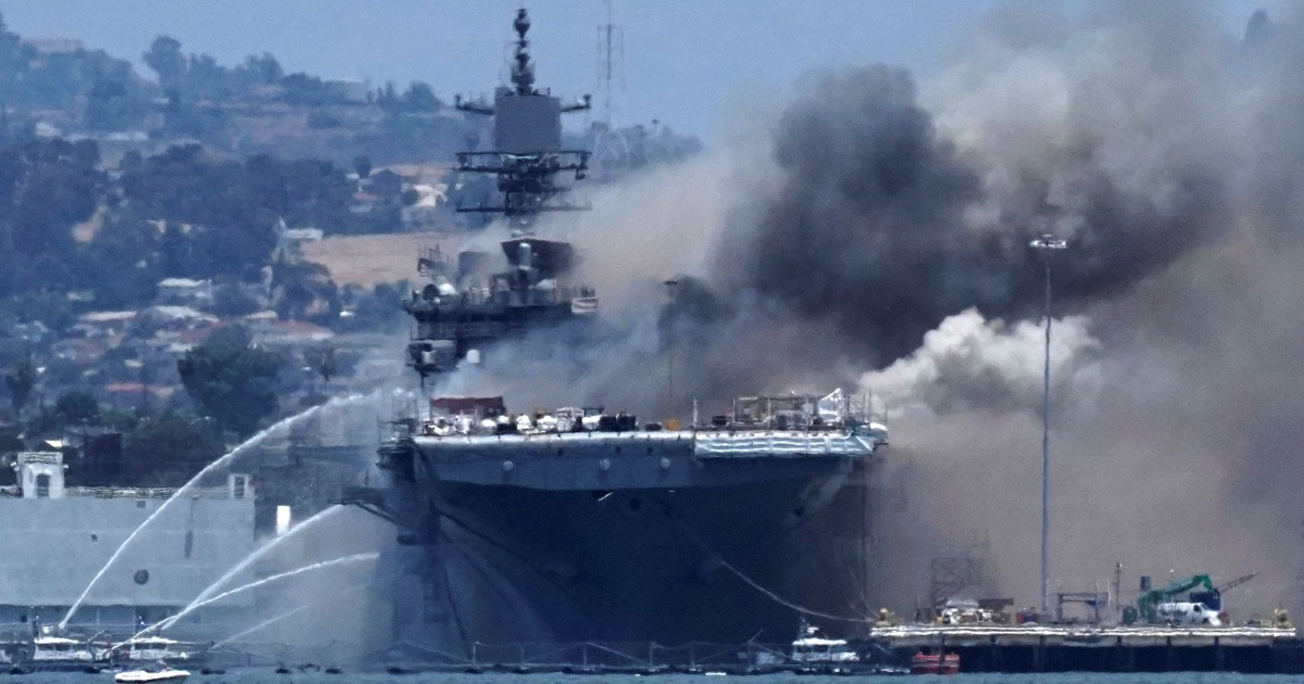 Fire aboard Navy's USS Bonhomme Richard extinguished after 4 days cause still unknown – NBC News