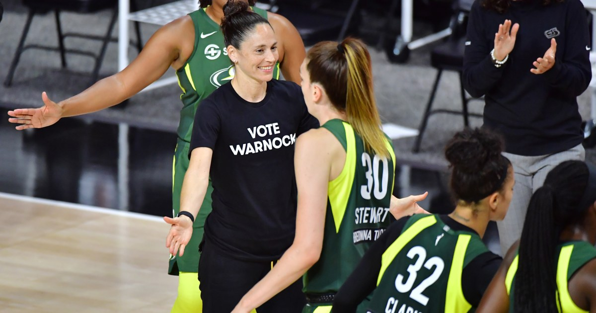 WNBA players wear shirts endorsing political rival of team co-owner Sen. Kelly Loeffler