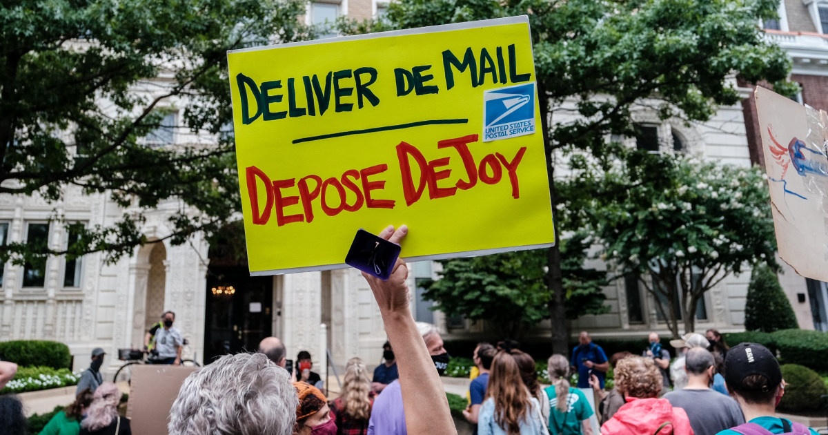 Protesters gather at Postal Service boss' home amid concerns over mailed ballots delays – NBC News