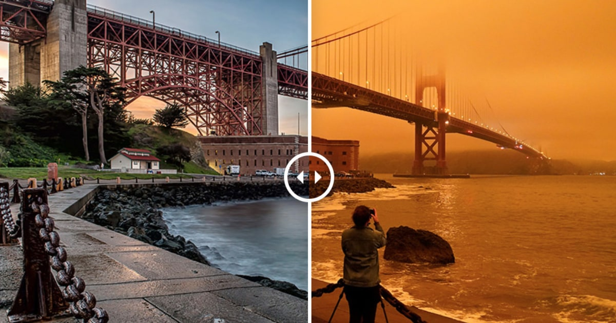See before and after photos of San Francisco Bay Area shrouded in smoke