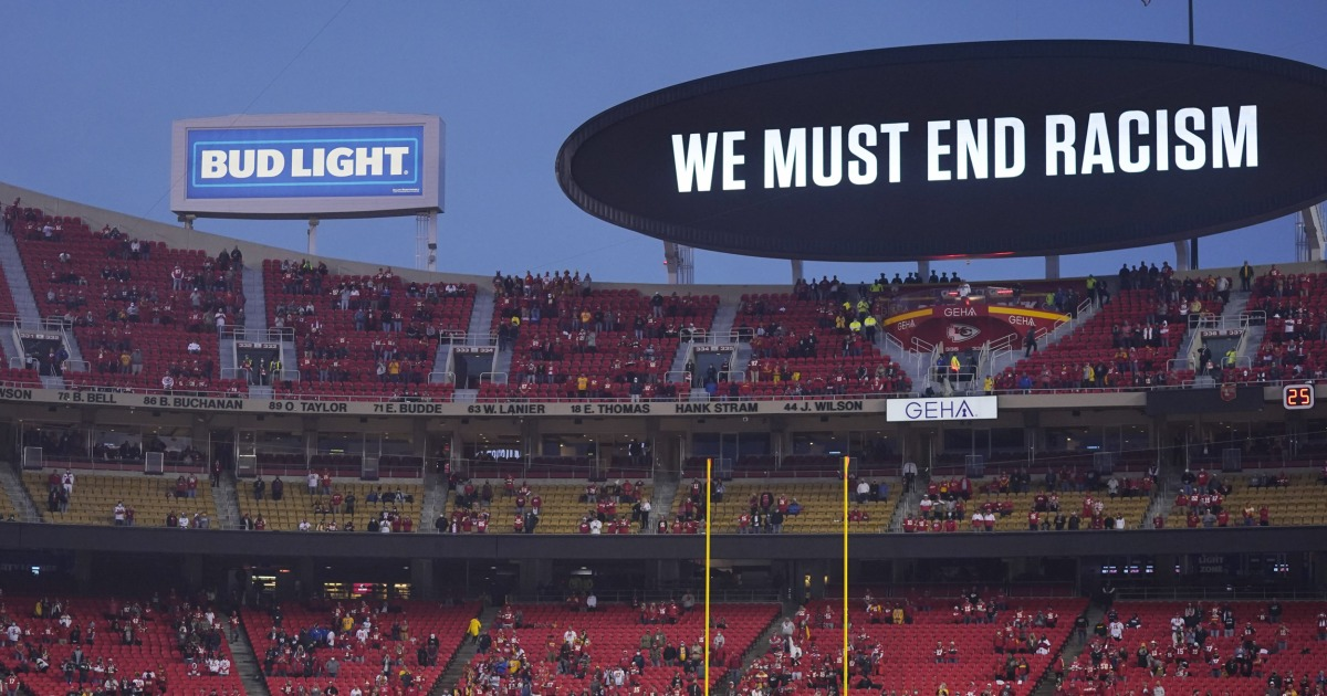 The Kansas City Chiefs game will be played on a field that says 'End Racism.' So why don't they?