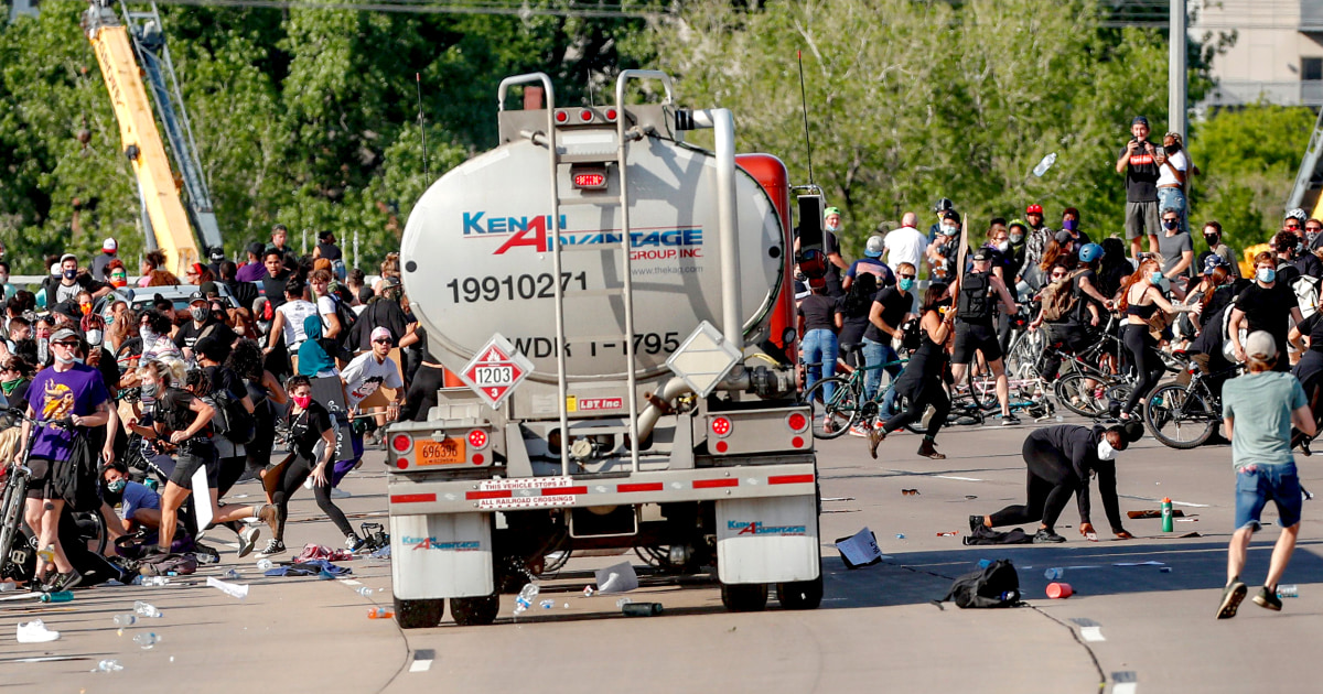 Trucker who drove through George Floyd protesters is charged – NBC News