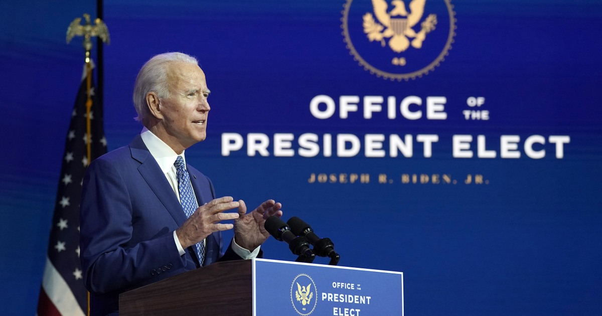 Biden kicks off presidential transition by begging Americans to wear masks – NBC News