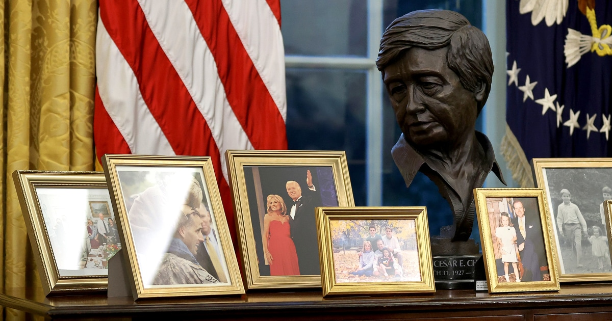 'That's Cesar Chavez!': Bust of civil rights icon behind President Joe Biden stirs excitement