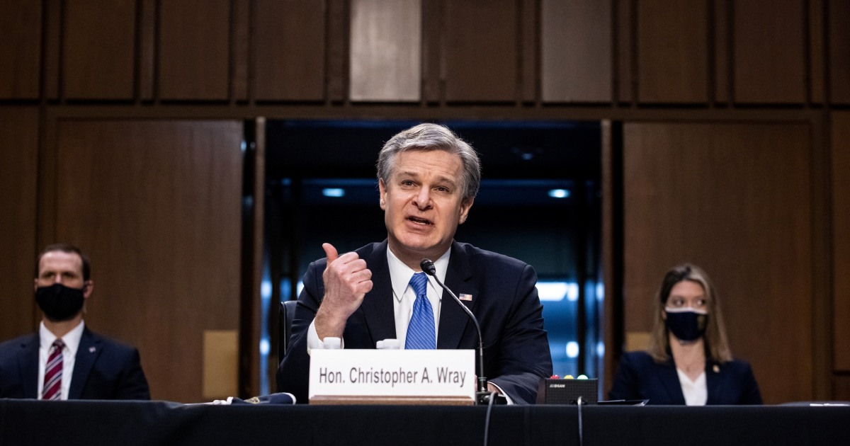 FBI Director Wray repeatedly rebuts claims that antifa activists attacked Capitol