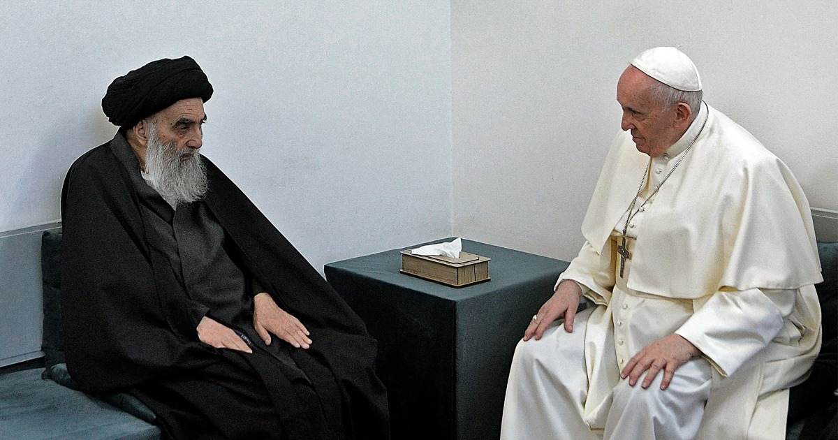 Pope Francis holds historic meeting with Shiite cleric in Iraq, visits Abraham's birthplace