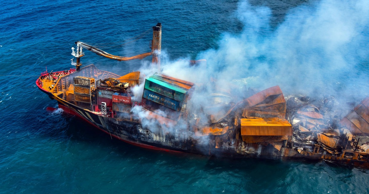 Cargo ship sinks off Sri Lanka after weeks on fire sparking fears of environmental disaster – NBC News
