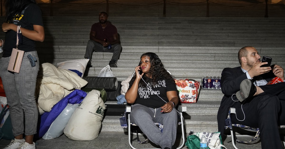 U.S. Rep. Cori Bush spends night outside Capitol to protest return of evictions