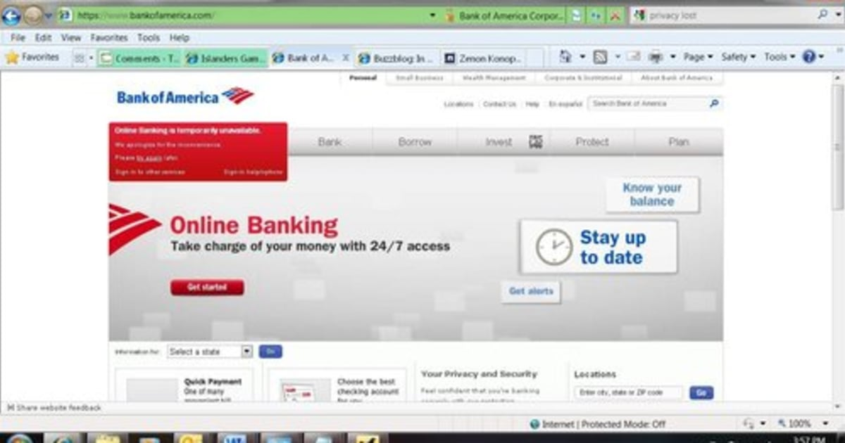 Bank Of America Online Banking Down