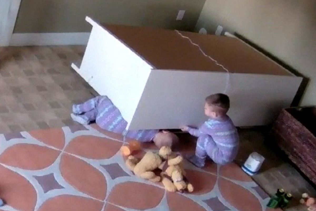 Caught On Camera Dresser Falls On Twin Boys One Toddler